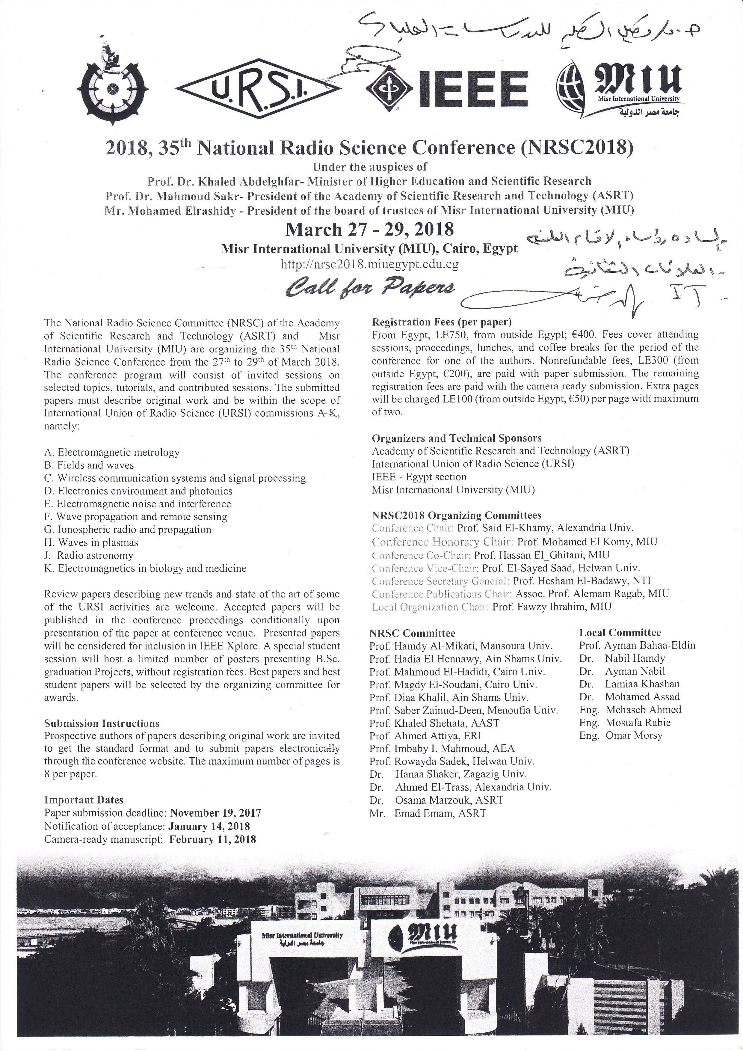 National Radio Science Conference (NRSC 2018) March 27 - 29 , 2018